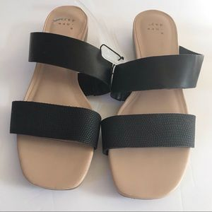 A New Day Two Strap Peep Toe Slide On Sandals